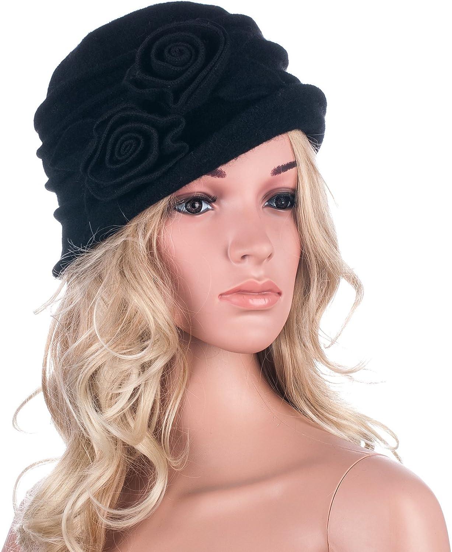 Lawliet Eleganter Vintage-Glockenhut aus Wolle für Damen. Warme Kopfbedeckung für den Winter. 287_Black