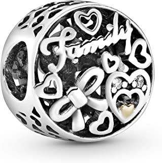 Pandora Jewelry Openwork Family Heart Cubic Zirconia Charm in Sterling Silver and 14K Yellow Gold