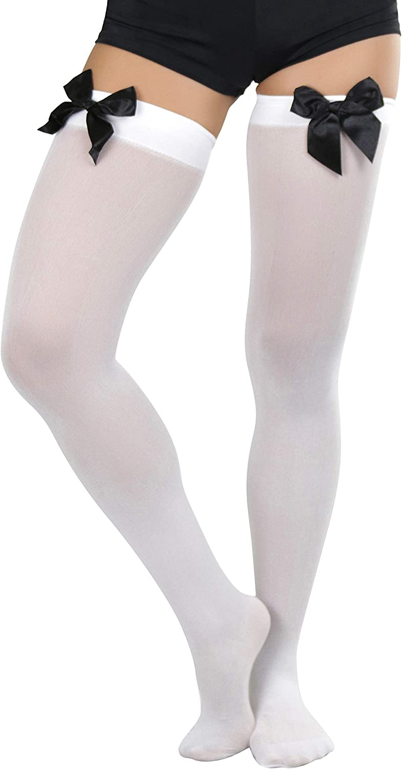 ToBeInStyle Women's Beautiful Satin Bow Opaque Thigh High Stockings