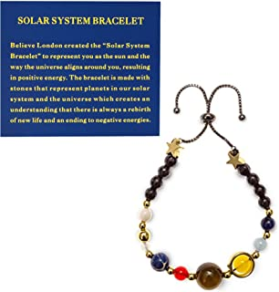 Believe London® Solar System Bracelet With Jewellery Bag & Meaning Card   Adjustable Bracelet To Fit Any Wrist   9 Planets...
