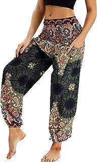 380d82c0fdc Nuofengkudu Mujer Pantalones Harem Tailandes Hippies Vintage Boho Flores  Verano Alta Cintura Elastica Casual Danza Yoga