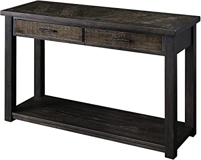 Benjara 2 Drawer Rustic Style Plank Top Sofa Table with Open Shelf, Brown
