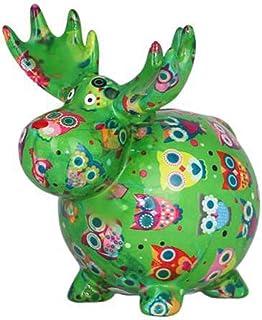 POMME-PIDOU dekoracyjna skarbonka łoś Randolf | M | ceramika | zielony | mistyczne sowy las deszczowy zielony