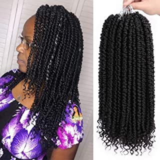 ENTRANCED STYLES 8 Packs Senegalese Twist Crochet Braids Curly End 14 Inches Black Havana Mambo Crochet Hair Extension(1B)