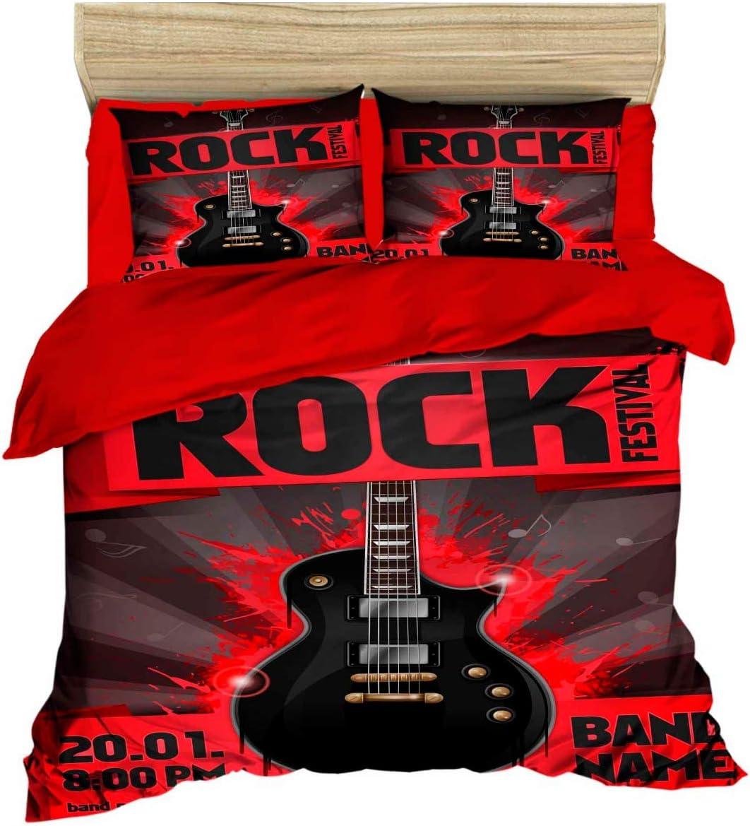 100% Cotton 3D Music Financial Washington Mall sales sale Bedding Set Rock Quilt Themed Duvet Guitar