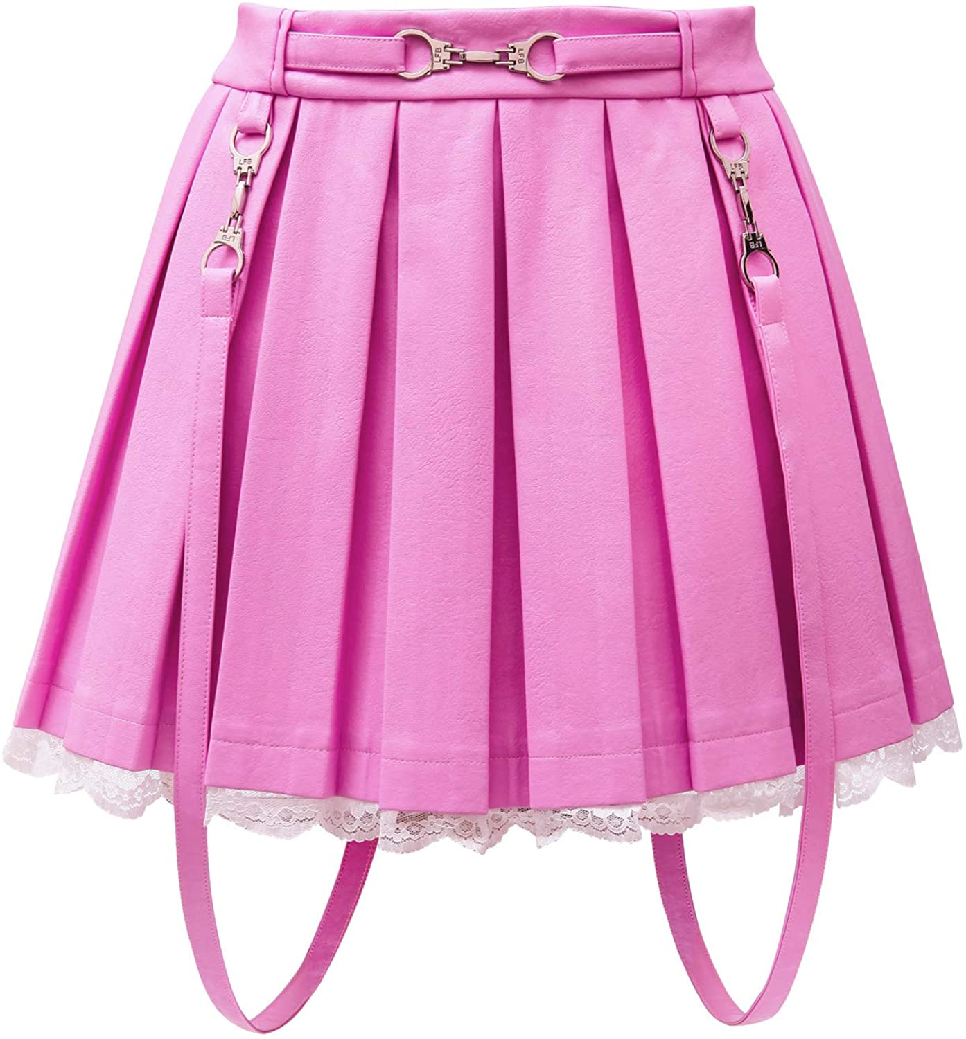 Littleforbig Women's A-Line Pleated Faux Leather Flared Casual Lace Trim Mini Skirts - Troublemaker