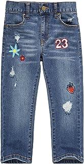 UNACOO Girls Jeans Stretch Straight Leg Pockets
