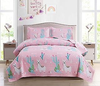 3-Piece Kids Quilt Bedspreads Twin Size Pink, Girls...