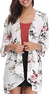 74d6318b02 Women's 3/4 Sleeve Floral Kimono Cardigan, Sheer Loose Shawl Capes, Chiffon  Beach