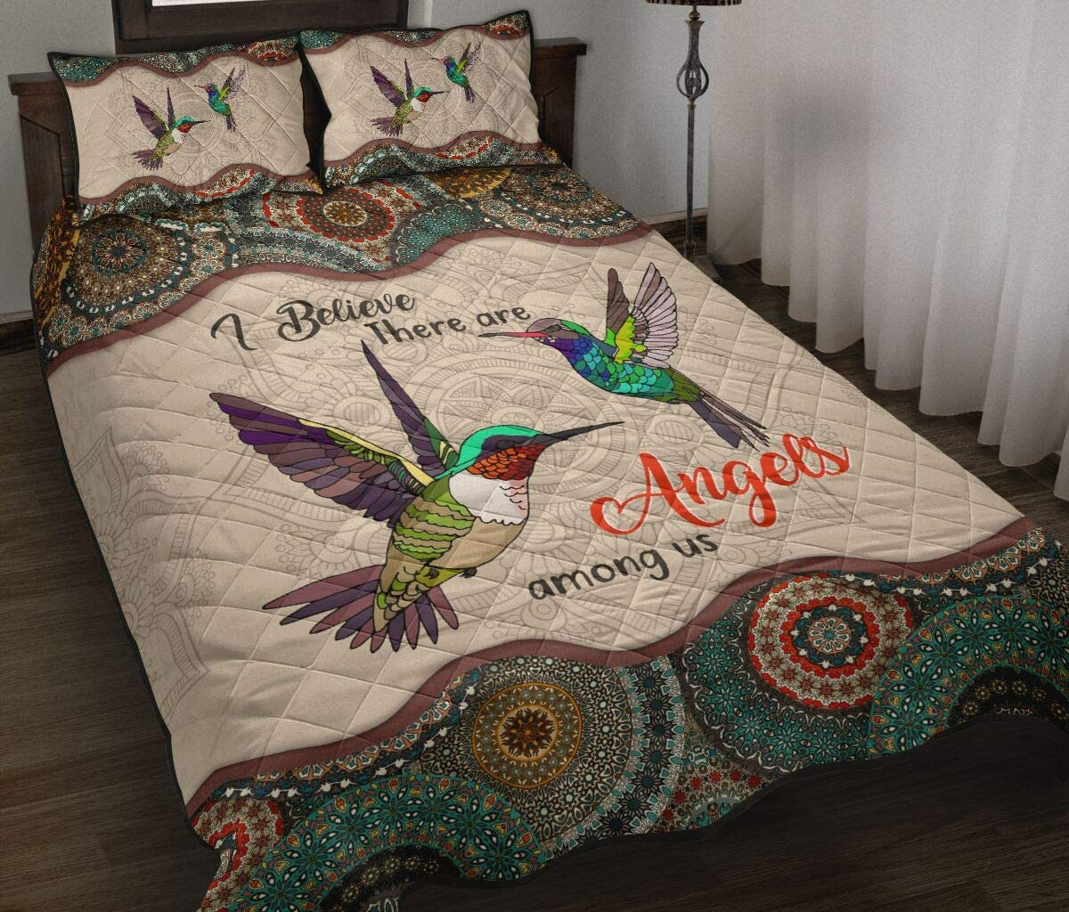 Hummingbird - Angel Among Us Quilts Mail order 3 Bedding Regular discount Set Pieces Bed