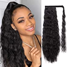 AISI QUEENS Long Ponytail Extensions for Black Women Synthetic 22 inch Curly Wrap Around Black Ponytail Corn Wave Ponytail Hairpiece Magic Paste Black Ponytail(color:1B#)