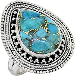 YoTreasure Blue Copper Turquoise Solid 925 Sterling Silver Ring