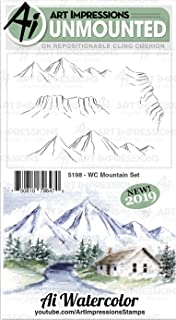 ART IMPRESSIONS AI Rubber Stamp Set MNTAIN, WC Mountain