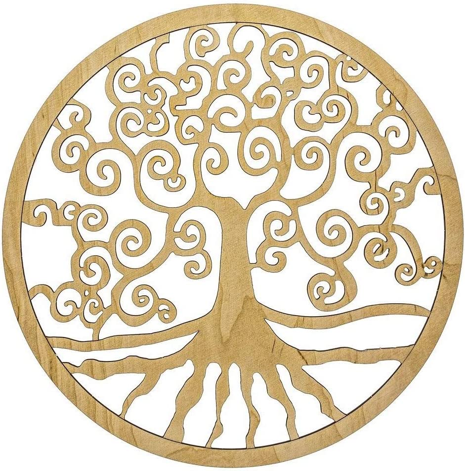 Acheter d/écoration cadeaux /ésot/ériques pas cher Arbre de vie D/écoration murale en bois /Ø 24 cm Lot de 3 pc Yggrasil Esoterik Symbole de larbre de vie