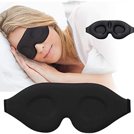 3D Sleep Mask, New Arrival Sleeping Eye Mask for Women Men, Contoured Cup Night Blindfold, Luxury Light Blocking Eye Cover, Molded Eye Shade with Adjustable Strap for Travel, Nap, Yoga, Black