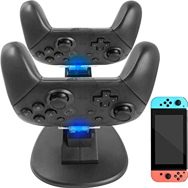 YOOWA Pro Controller Charger for Nintendo Switch - Dual Controller Charger Charging Dock Stand Station Compatible with Nintendo Switch Pro Controllers with LED Indicators