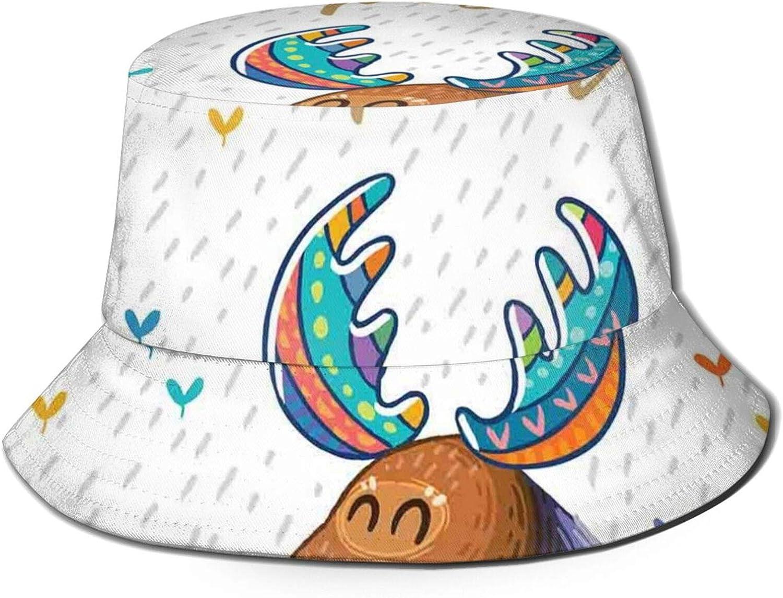 Quote Stay Positive Motivational Deer Boho Retro Colorful Antlers Under Rain Hearts Bucket Hat Unisex Outdoor Sun Hat for Women Men Teens