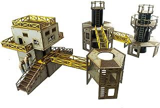 War World Gaming Industry of War - Refinería prepintada 2 y Torre de Servicio de Energía 28mm, Wargames, Miniaturas, Escenografía Miniatura, Modelismo, Sci-Fi, Dioramas, Envío con Seguimiento