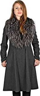 Vera Wang Woman's Gray Fit & Flare Coat with Fur Trim