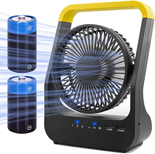 discount Battery Operated Fan, Super Long Lasting popular Battery Operated online sale Fans for Camping, Portable D-Cell Battery Powered Desk Fan with Timer, 3 Speeds, Whisper Quiet, 180° Rotation, for Office,Bedroom,Outdoor, 5'' outlet sale