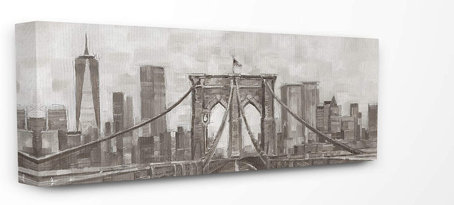 The Stupell Home Decor Neutral Grey Tan Panoramic View of New York City Stretched Canvas Wall Art, 10 X 24, Multicolor