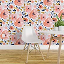 Spoonflower Non-Pasted Wallpaper, Watercolor Floral Flowers Pink Blue Blush Girly Print, Swatch 12in x 24in