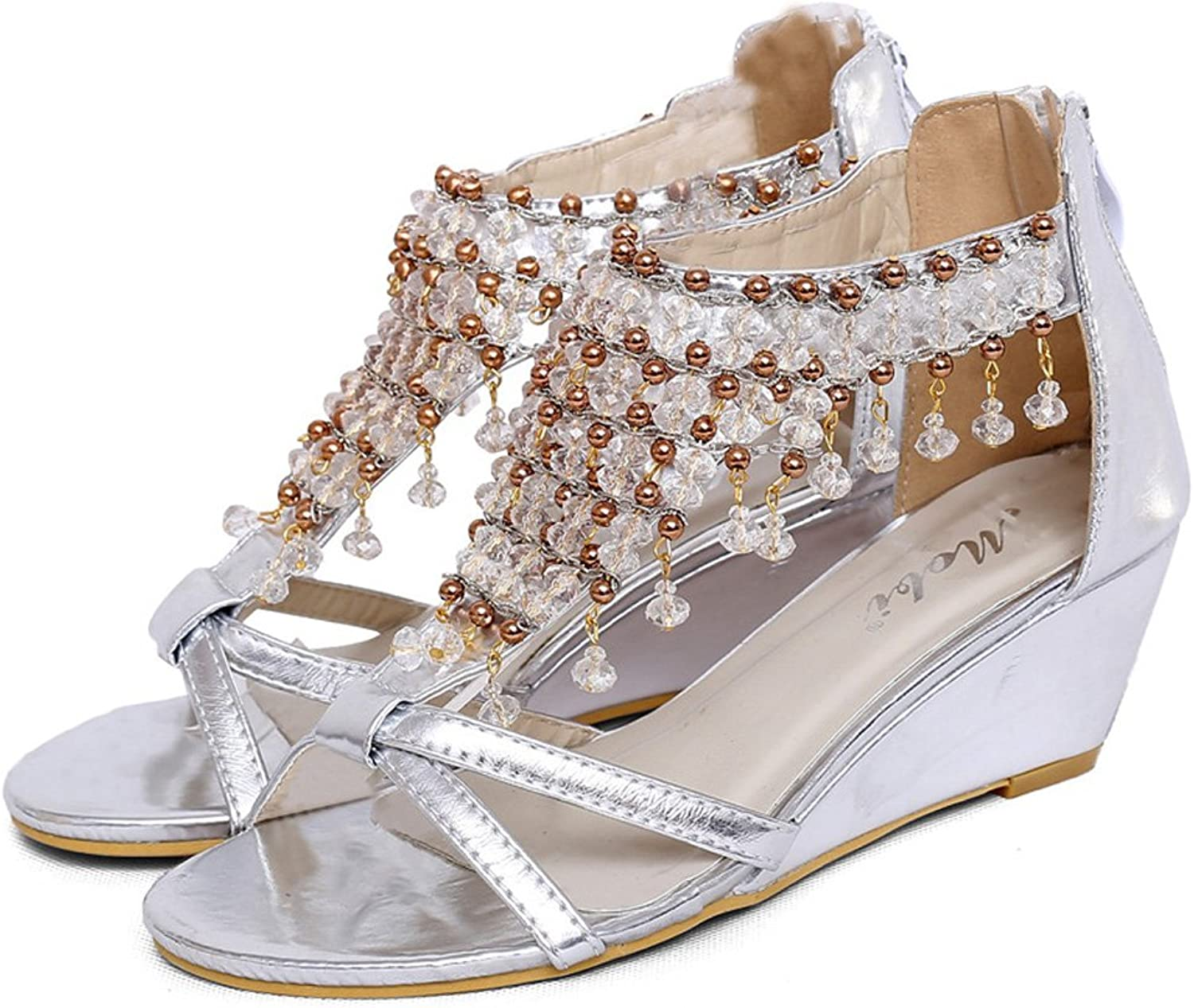 Navoku Womens Fashion Jeweled Leather Ladies Sandals Sandles