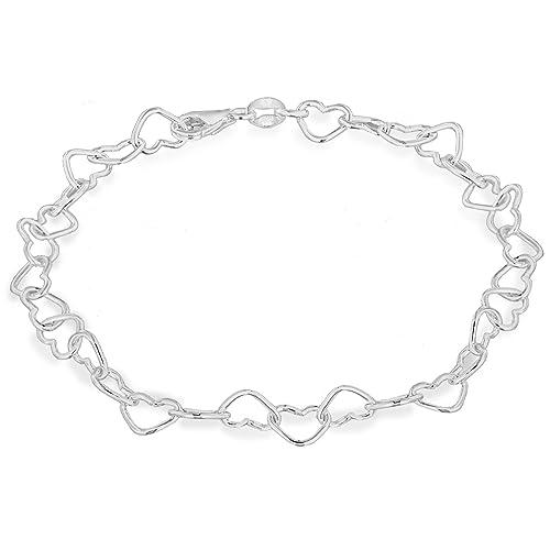 b15f89212 Tuscany Silver Sterling Silver Small Open Heart Link Bracelet of 19cm/7.5