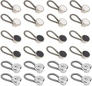 Metal Collar Buttons Extenders Stretch Neck Extender for Trouser Shirt Dress Coat Black White Silver(24Pcs)