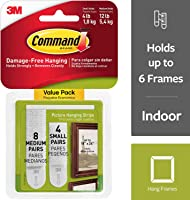 Command 17203 Small and Medium Picture Hanging Strips Value Pack, 4 pairs small, 8 pairs medium-white