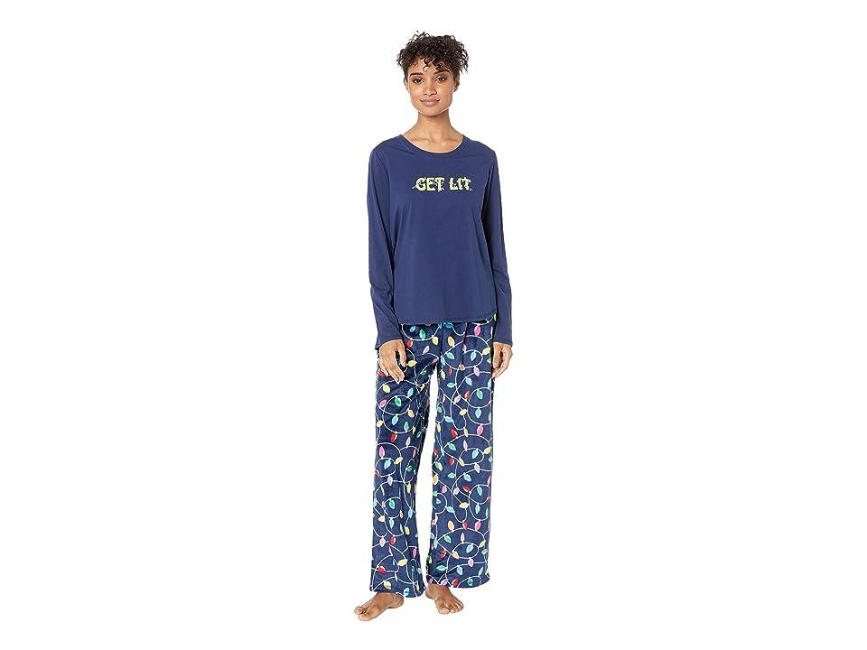 Karen Neuburger Get Lit Family Long Sleeve PJ Set (Bright Lights Navy) Women