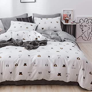 LAYENJOY Dogs Duvet Cover Set Twin, 100% Cotton Bedding, Dogs Puppy Funny Face Pattern Printed on White Reversible Gray Plaid, Cartoon Comforter Cover for Kids Teens Boys Girls, 3 Piece No Comforter