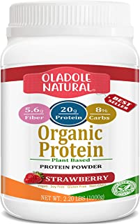 Oladole Natural Plant Based Organic Protein Powder, Strawberry - Vegan, Low Net Carbs, Non Dairy, Gluten Free, Lactose Fre...