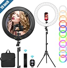 """19"""" RGB Ring Light with Stand, 48W Efficient LED Ring Light, Support Phone/Pad/Camera, Carrying Bag for Photography/YouTube/Facebook/Twitch/Blogging"""