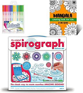 Spirograph Set Deluxe Kit for Kids - Includes Spirograph Deluxe Design Set, Multicolored Gel Pens, And Mandala Coloring Bo...