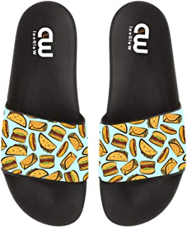 Fast Food Taco Hamburger Summer Slide Slippers for Men Women Kid Indoor Open-Toe Sandal Shoes