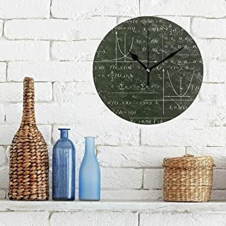 Large Wall Decor Clock Math Education Complicated Mathematical Genius Non-Ticking Round Silent Diamond Display Wall Clocks Painting Dial Kitchen Bedroom Decor School Clocks for Kids