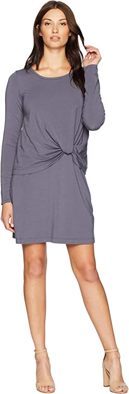 Cotton Modal Spandex Jersey Long Sleeve Dress with Twisted Hem Overlay