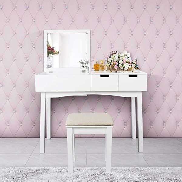 Vanity Set With Dressing Table Flip Top Mirror Organizer Cushioned Stool Makeup Wooden Writing Desk 2 Drawers Easy Assembly Beauty Station Bathroom White