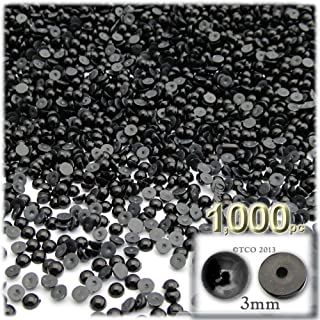 The Crafts Outlet 1000-Piece Pearl Finish Half Dome Round Beads, 3mm, Pitch Black