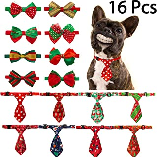 KOOLTAIL Dog Bow Ties Collar Neckties Christmas - 16 PCS Pet Puppy Cats Bowties,Adjustable Collar for Holiday Festival and Party Occasion Accessories
