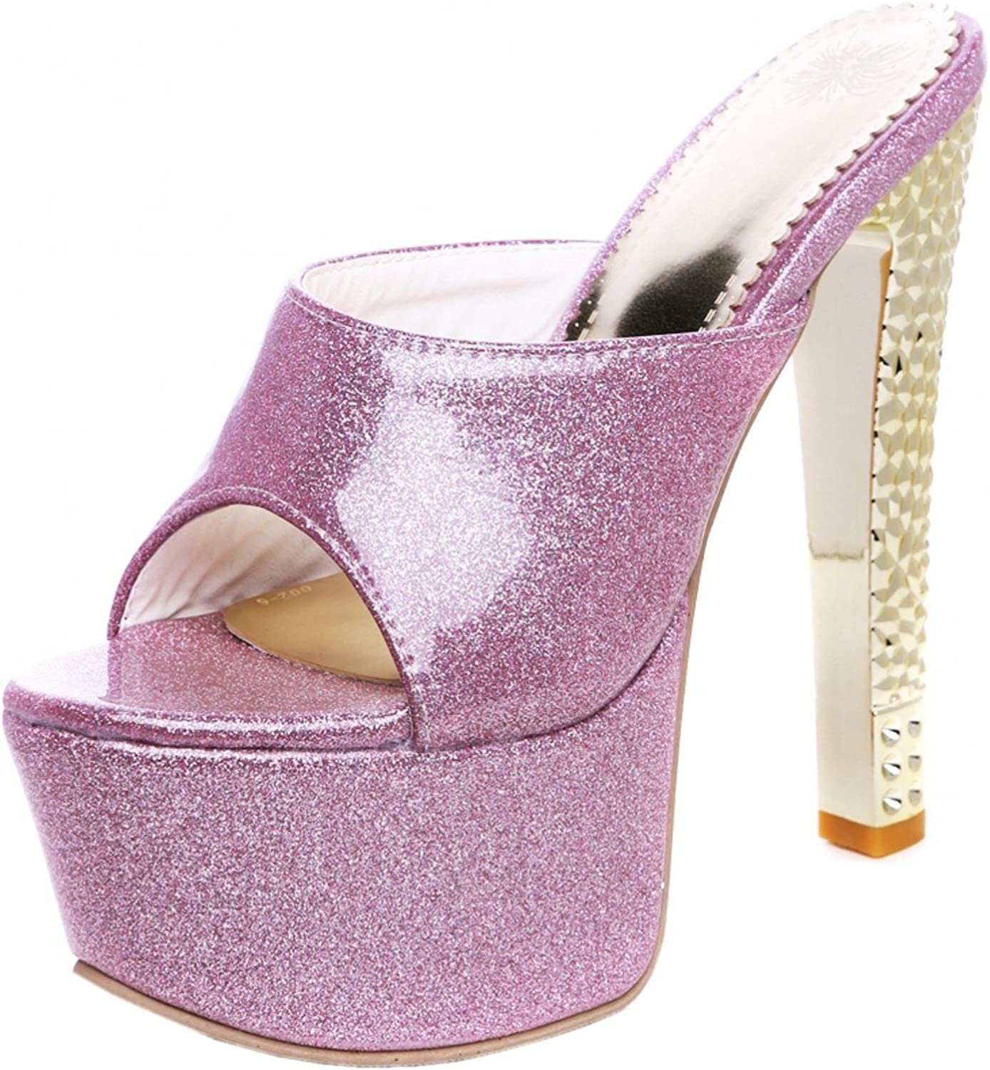 Rongzhi Womens High Heels Mules Pumps Heeled Sandals Glisten Platform Slip On Party Prom shoes Open Toe