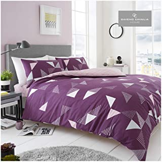 Gaveno Cavailia Luxurious Marco Bed Set with Duvet Cover and Pillow Cases, Polyester-Cotton, [ King-Purple ], Polycotton,