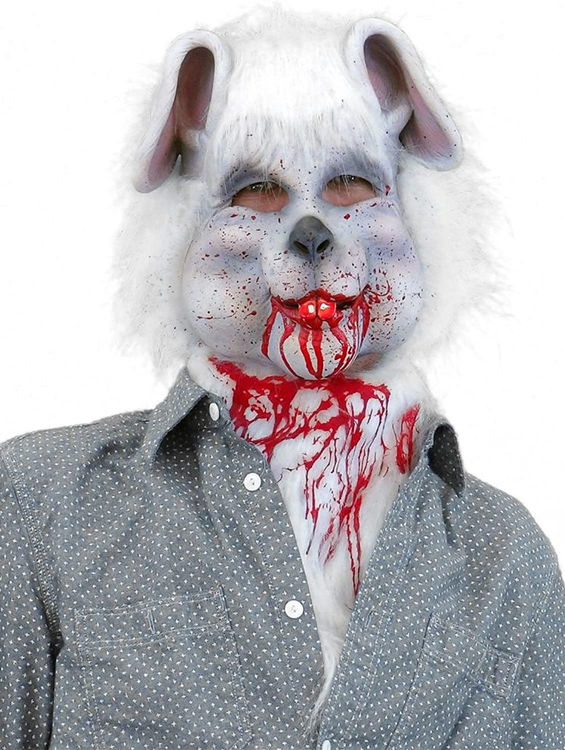 Creative Collection White Bunny Mask With Blood