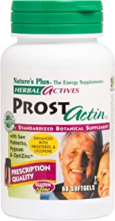 NaturesPlus Herbal Actives ProstActin - 200 iu Vitamin E, 60 Softgels - Healthy Prostate Gland Support, with Saw Palmetto,...