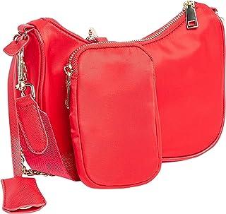 حقيبة كتف سادة مع محفظة صغيرة قابلة للفصل للنساء، مقاس واحد