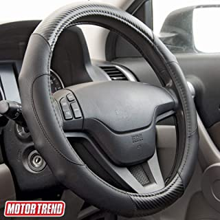 """Motor Trend BDK SW-712-BK GripDrive Carbon Fiber and Leather Steering Wheel Cover – Universal Fit for 14.5""""-15.5 Wheels, Black"""
