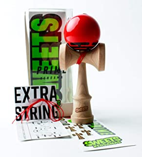Sweets Kendamas Radar Prime Kendama - Sticky Paint, Perfect for Beginners, Extra String Accessory Bundle (Red)