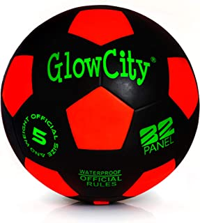 GlowCity Glow in The Dark Size 5 Soccer Ball-Black Light up Soccer Ball Edition-Illuminates with Super Bright LED Light-Official Size and Weight Ball