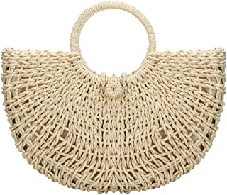 Handwoven Straw Summer Beach Bag Woven Straw Handbag Boho Wicker Purse for Women with Round Top Handle Satchel Half Moon Leisure Style